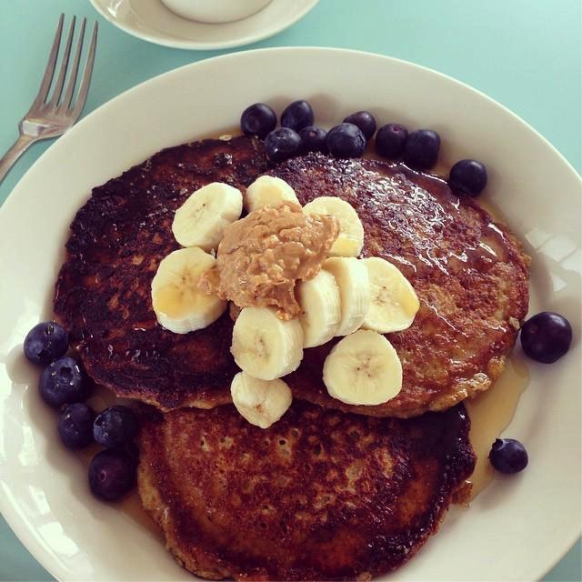 Recovery Meal: Pancakes Topped with Banana, Blueberries and Peanut Butter